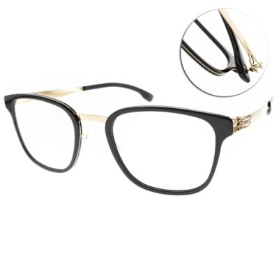 ic!berlin眼鏡  德國薄鋼文藝方框款/黑-金#MR. BICE OBSIDIAN ROSE GOLD