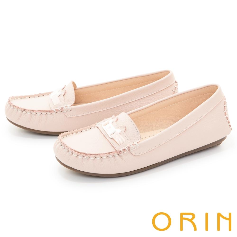ORIN 甜美童趣縫線真皮 女 平底鞋 粉色