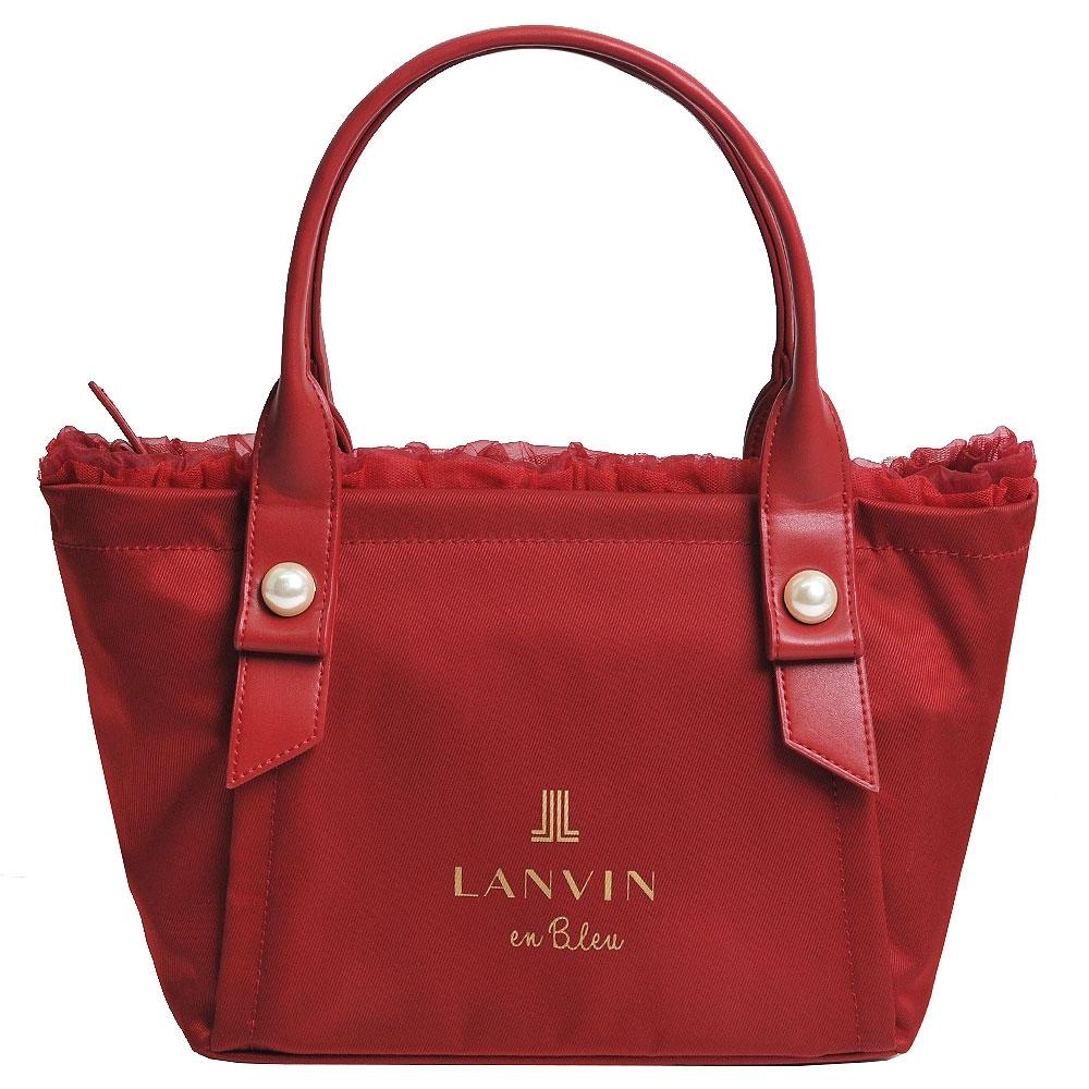 LANVIN en Bleu 蕾絲滾邊珍珠風品牌LOGO圖騰手提肩背包(酒紅色)