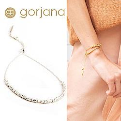 GORJANA Laguna 銀色立體金塊手鍊 可調式手圍 細緻多墜款