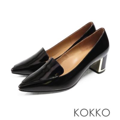 KOKKO - 小方頭樂福金屬鑲邊真皮粗跟鞋 - 經典黑