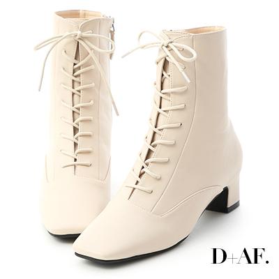 D+AF 注目焦點.復古方頭綁帶中跟短靴*米