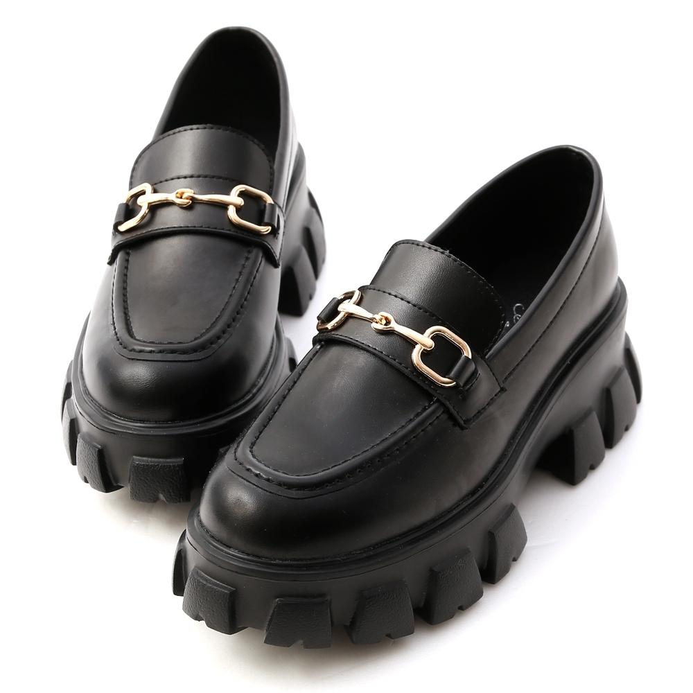 D+AF 街潮主題.鋸齒底馬銜釦樂福鞋*黑