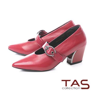 TAS鱷魚紋大圓扣繫帶金屬尖頭粗跟鞋-微醺酒紅