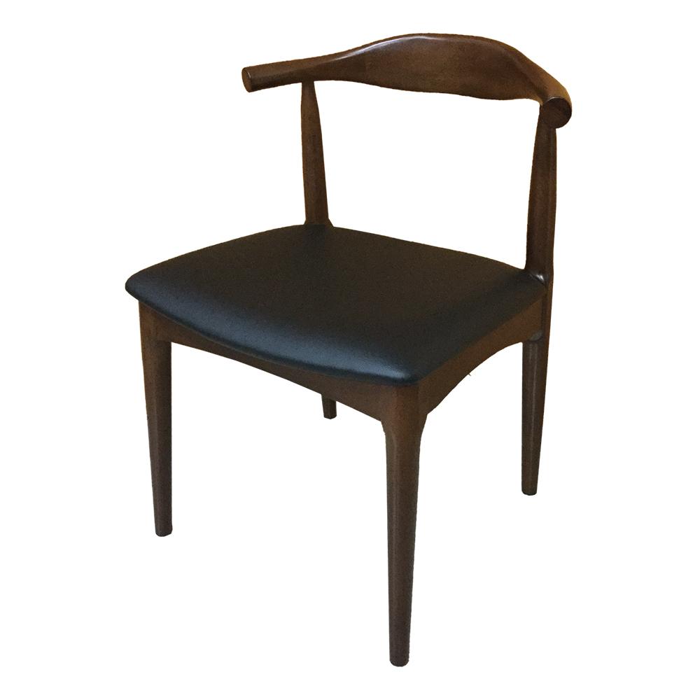 AS-Ethel胡桃黑皮面實木餐椅-50x47x76.5cm