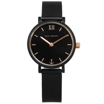 PH PAUL HEWITT 藍寶石水晶玻璃米蘭編織不鏽鋼手錶-鍍黑/28mm