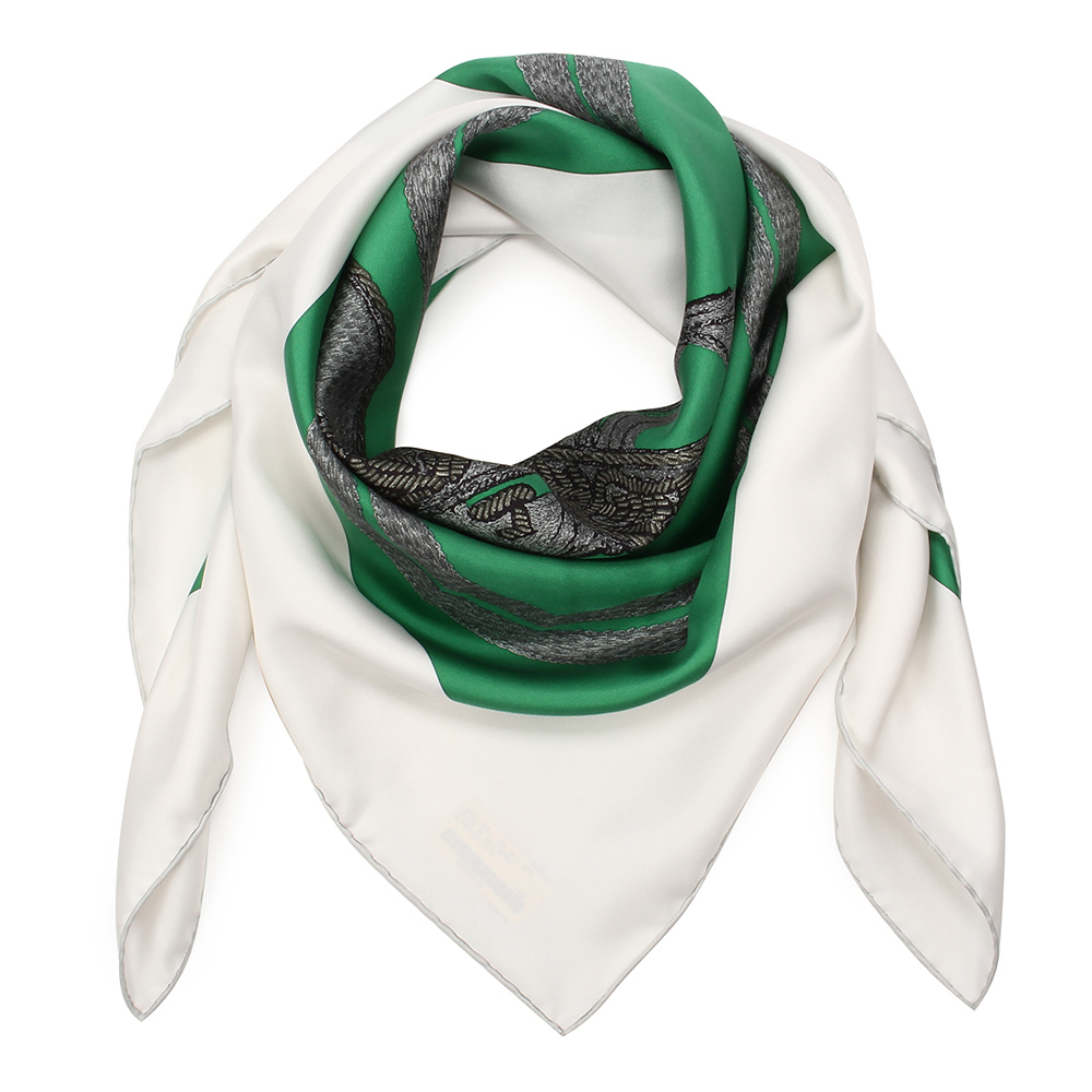 HERMES Brides De Gala Brode馬鞍圖騰真絲披肩方型絲巾-祖母綠