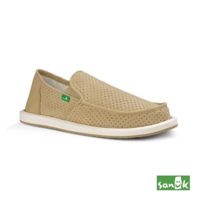 SANUK 男款US8 帆布透氣懶人鞋(米色)