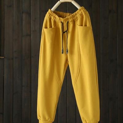 鬆緊腰繫帶束腳休閒拼接寬鬆純棉長褲-設計所在