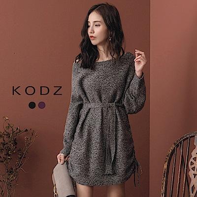 東京著衣-KODZ 時髦焦點大圓領綁帶混色針織上衣(共二色)