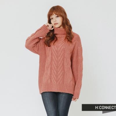 H:CONNECT 韓國品牌 女裝 - 翻領麻花針織毛衣-粉(快)