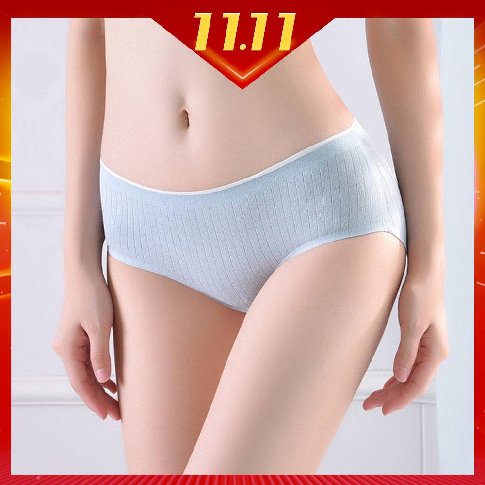 時時樂限定  日系條紋抗菌中腰純棉內褲六件組(每色各一)