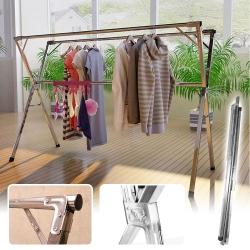 【Incare】新升級加厚-折疊不鏽鋼雙桿曬衣架(2.4米)