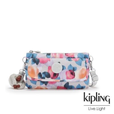 Kipling 繽紛夢幻花繪翻蓋肩背斜背包-VECKA STRAP CB