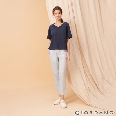 GIORDANO 女裝純棉鬆緊腰薄九分休閒褲-94 藍條紋/雪白色