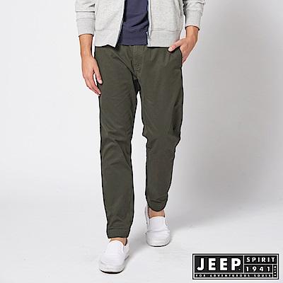 JEEP 經典美式休閒縮口褲 -橄欖綠