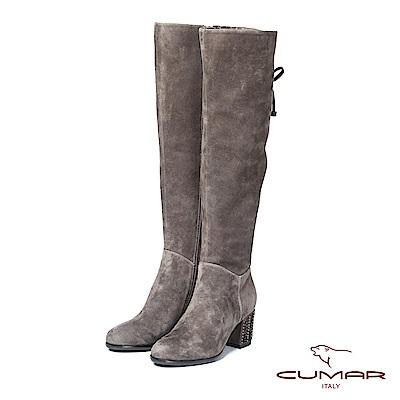CUMAR率性柔美-簡約美型小鉚釘裝飾粗高跟長靴