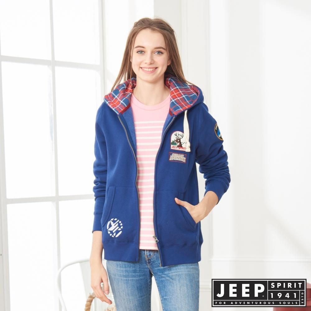 JEEP 女裝 美式探險休閒連帽外套-男女適穿 -深藍色