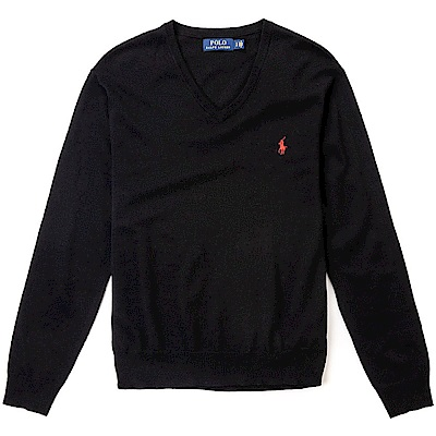 Polo Rlaph Lauren 經典刺繡小馬V領針織棉質毛衣-黑色