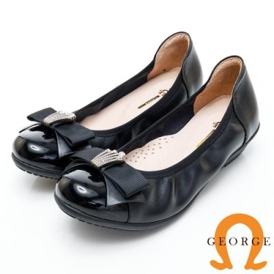 【GEORGE 喬治皮鞋】皇冠水鑽蝴蝶結漆皮契型娃娃鞋-黑色