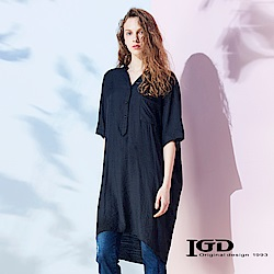 IGD英格麗 IGD印花開領罩衫-黑
