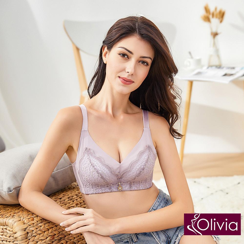 Olivia 無鋼圈3D立體輕量花漾無痕羽棉杯內衣-豆沙色