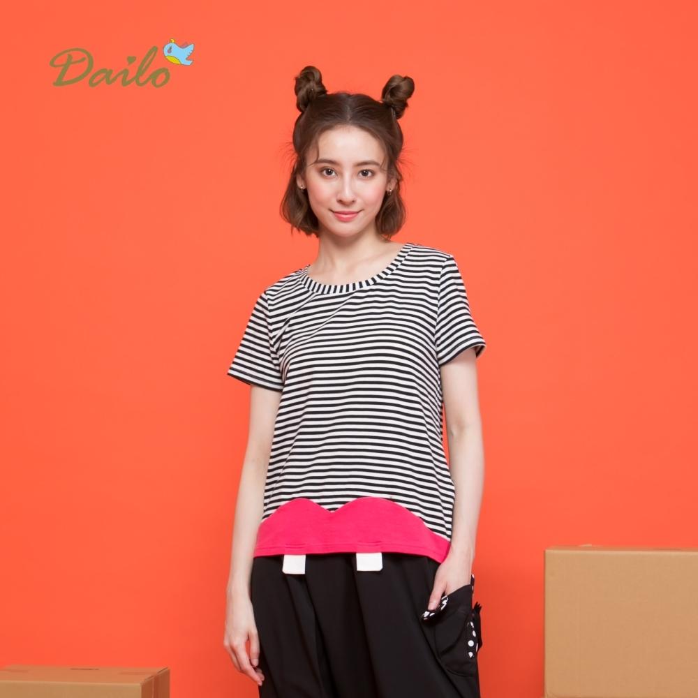 【Dailo】條紋拼接色塊衣襬短袖-上衣(二色)