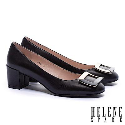 高跟鞋 HELENE SPARK 都會時尚拼色金屬方釦全真皮高跟鞋-黑
