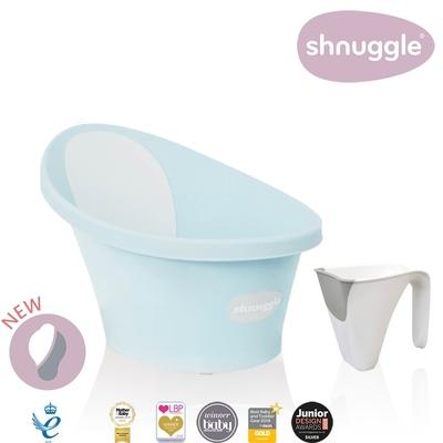 【英國Shnuggle】月亮澡盆-香草綠(嬰兒浴盆)+小小水瓢