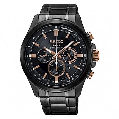 SEIKO Criteria三眼時刻太陽能腕錶/V175-0ER0SD/SSC695P1