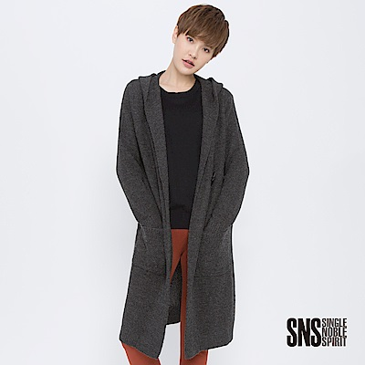 SNS 灰色國度長版單釦羊毛針織外套(2色)