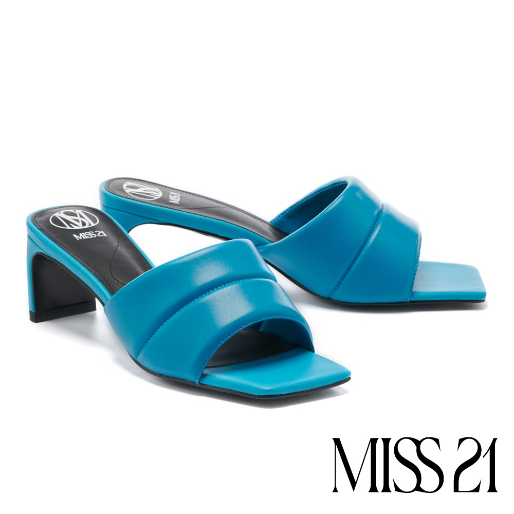 拖鞋 MISS 21 時髦潮感一字帶方頭高跟拖鞋-藍
