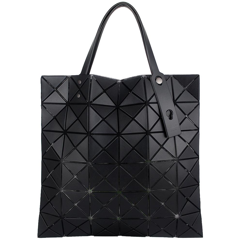 ISSEY MIYAKE 三宅一生BAOBAO 皮質方格6x6手提包(黑)