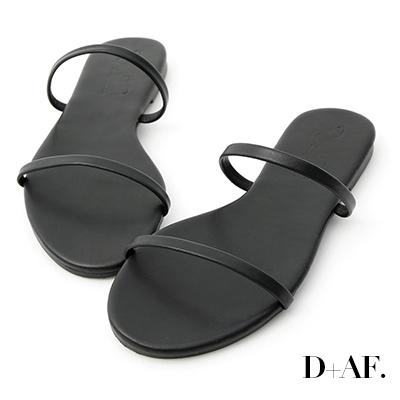 D+AF 清涼夏日.二條細帶平底涼拖鞋*黑
