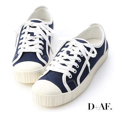 D+AF 潮流風格.圓頭拼色帆布休閒鞋*藍