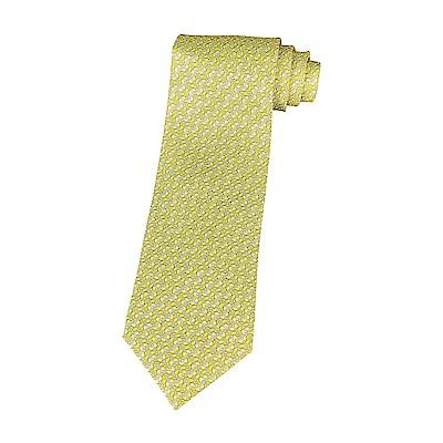 HERMES愛馬仕VAGUE D ANCRE經典緹花LOGO船錨設計蠶絲領帶(黃)