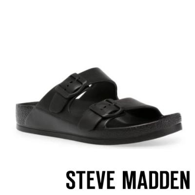 STEVE MADDEN-EVANNE 百搭雙帶扣飾休閒拖鞋-黑色
