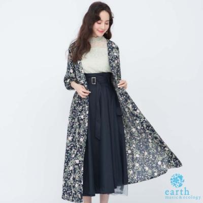 earth music 印花V領罩衫式洋裝