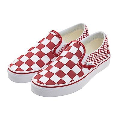 (女)VANS Classic Slip-On 棋盤格休閒懶人鞋*紅白VN0A38F7VK5