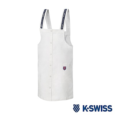 K-SWISS Cotton Twill Dress連身吊帶裙-女-白
