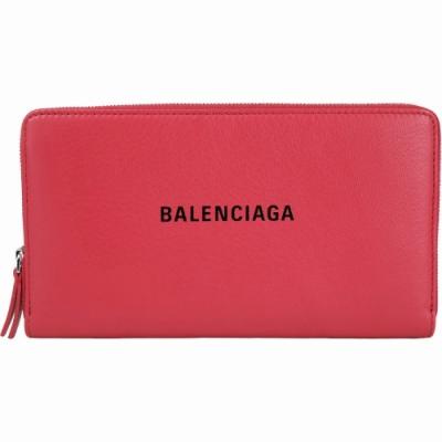 BALENCIAGA Everyday 品牌字母小牛皮拉鍊長夾(紅色)