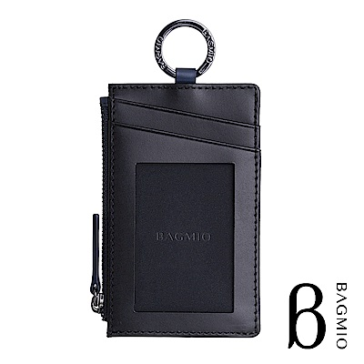 BAGMIO duet 牛皮雙卡雙色鑰匙零錢包 黑藍