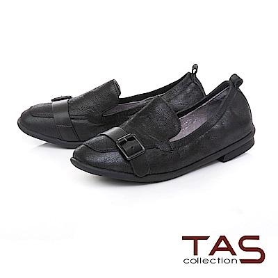 TAS 一字皮帶扣素面牛皮樂福鞋-俐落黑