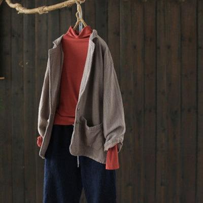 水洗做舊質感棉麻西裝外套寬鬆上衣-設計所在