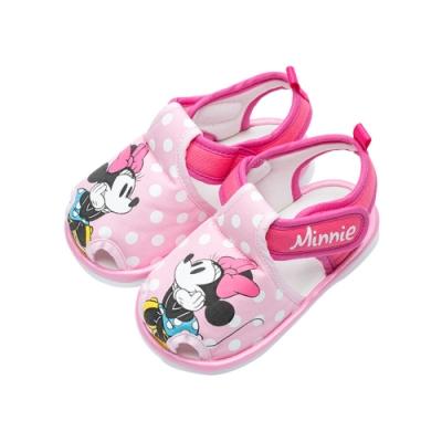迪士尼童鞋 米妮 趣味寶寶叫叫涼鞋-桃