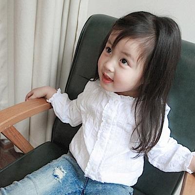 小衣衫童裝   百搭清新小花邊立領白色長袖襯衫1070934