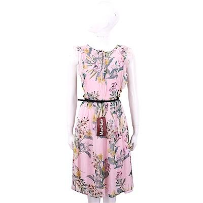 Max Mara 雪紡袖粉色花卉附腰帶紗質洋裝