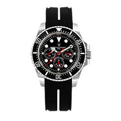 Valentino Coupeau 范倫鐵諾 古柏 陶瓷三眼水鬼腕錶(銀色/黑面/橡帶)