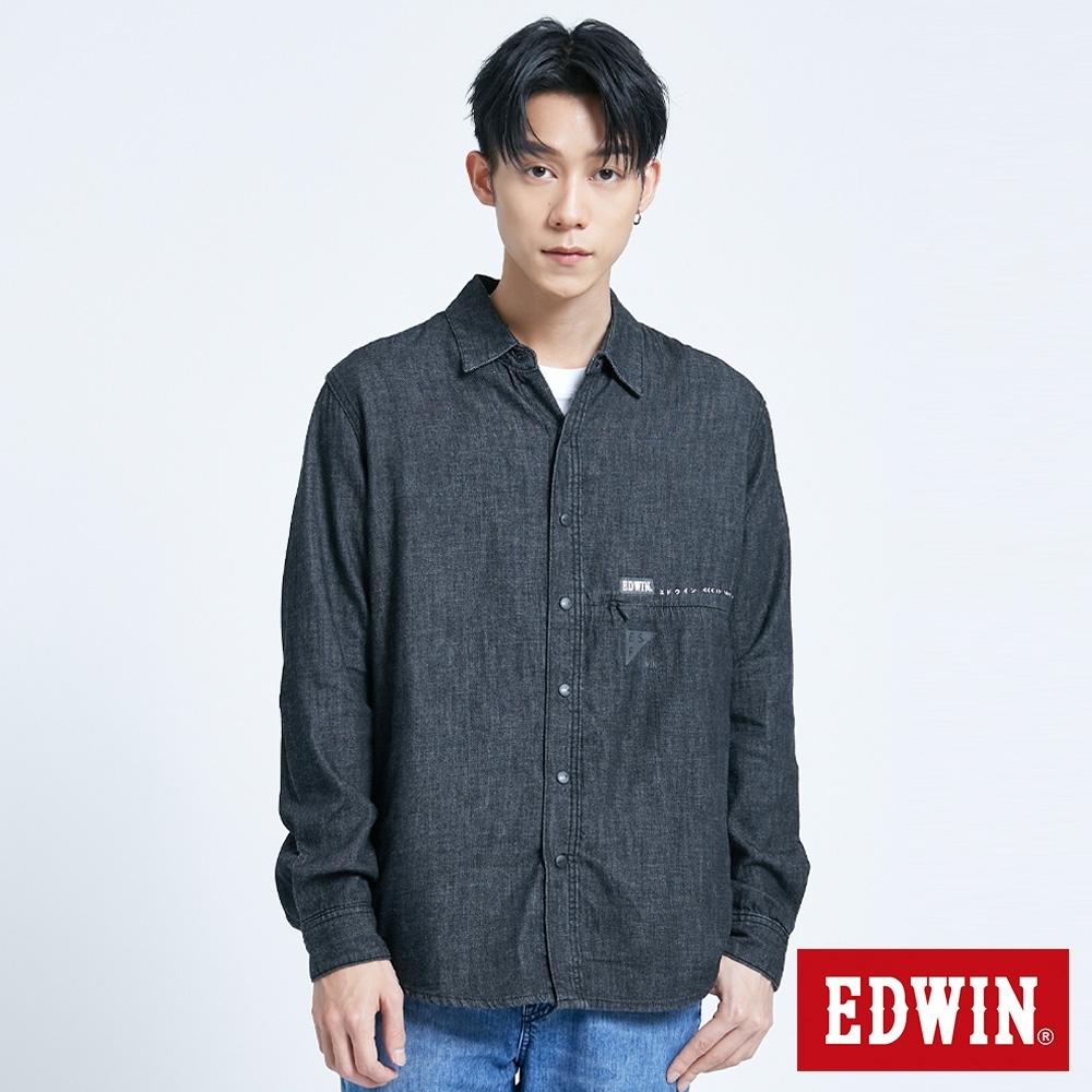 EDWIN 黑牛仔長襯衫式外套-男-黑色