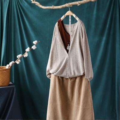 單色圓領針織衫寬鬆大碼鏤空薄版長袖開衫外套-設計所在